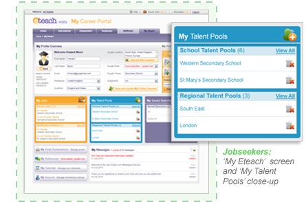 Jobseekers: 'My Eteach' screen and 'My Talent Pools' close-up