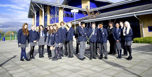 pupils at front of school.jpg