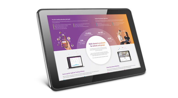 Eteach's Multi channel recruitment brochure for schools and colleges shown on a tablet